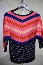 Talbots Nylon Blend Multi-Colored Striped Crew-neck Sweater Size - Med