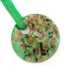 Gold Foil Green Round Lampwork Glass Murano Bead Pendant Ribbon Necklace Cord
