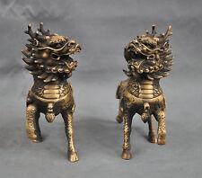 "6""Chinese Bronze Animal Phylactery Beast Kylin Chi-lin Unicorn Pair Statue"