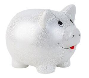 Riesen Mega Jumbo Sparschwein 31 cm x 25cm Weiss Silber Spardose Sparbüchse XXL