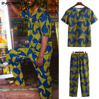 Men's African Clothing Dashiki Style Summer Printing T Shirt + Pants Floral Set