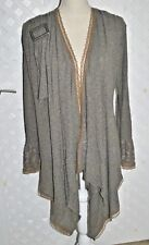 Zone Bleue Boho Stretch Beige / taupe Cardigan  Sweater Tunic Duster w/ Lace S