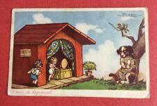 CPSM. Illustrateur Adolfo BUSI. Crise de logement. Enfants dans Niche.Chien lié