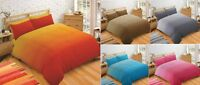 Super Soft Modern Plain Two Tone Duvet Quilt Cover Bedding Set Cotton Rich