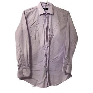 Jones New York Mens Large Button Up Shirt Casual Dress Purple Stretch LongSleeve
