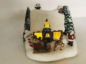 Thomas Kinkade Light Up House Village Santa's Workshop Battery Operated (READ)