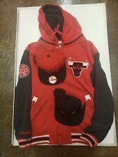 XL Mitchell&Ness Chicago Bulls Hoodie Jacket W/ 2 Bulls Snapbacks. Read descrip.