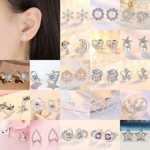 925 Silver Flower Butterfly Zircon Earrings Ear Stud Women Wedding Party Jewelry