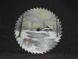 Hand Painted Saw Blade  Winter Scenery 9 inch blade