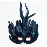 Green -Black Feather Mardi Gras Masquerade Bird Fancy Dress Mask