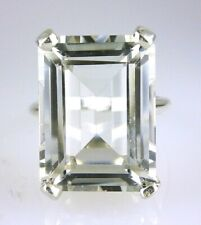 Very Large Natural White Topaz Ring, 20x15MM .925 Sterling Silver 30.47 Carats