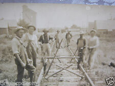 real photo men working on train tracks railroad antique Postcard