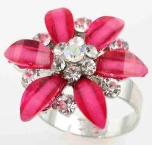 CZ FLOWERS IN BLOOM ADJUSTABLE STAINLESS STEEL RING