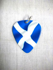 NEW SCOTTISH FLAG SCOTLAND BLUE & WHITE PRINTED GUITAR PICK ON ADJ CORD NECKLACE