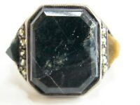 VINTAGE / ANTIQUE GERMAN ART DECO STERLING SILVER MARBLE MARCASITE RING GERMANY