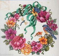 Janlynn FLORAL WREATH ROSE TULIP FLOWERS BLUEBIRD DRAGONFLY Cross Stitch Kit
