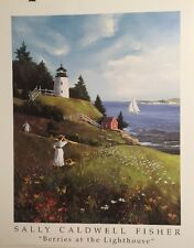 FINE ART LITHOGRAPH: Berries At The Lighthouse By Sally Caldwell Fisher 24 X 30
