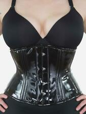 "411 Standard Authentic Black PVC 40"" Underbust Corset Double Steel Boned"