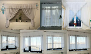 Ready made voile net curtain white with ZIRCONS Diamante Sparkle JEWEL VOILE NET