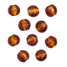 Silver Lined Transparent Pink/Orange Glass Beads 10mm Pack of 10 (B95/1)