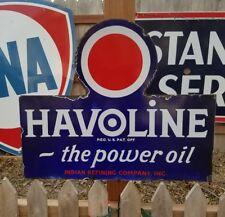 Vintage Original Rare Havoline Indan Refining Company Porcelain Flange Sign