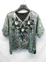 Vintage 80s L Black Silk Silver Sequin Beaded Floral Shirt Short Sleeve Party Lg