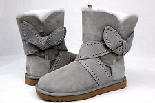 UGG MABEL BOW LIGHT GREY SUEDE SHEEPSKIN BOOTS SIZE 7 US