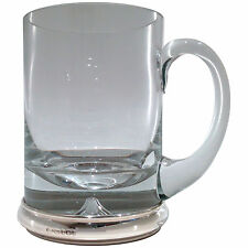 Krosno Crystal Beer Tankard / Ale Tankard with Hallmarked Sterling Silver Base.