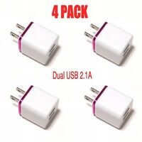4 PACK USB Double Wall Charger Adapter 1A 2A For iPhone/ Android/ Galaxy / LG .