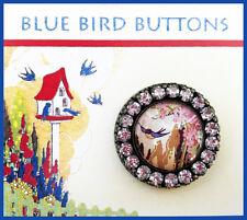 BLUEBIRD IN PINK FLOWER GARDEN ~ GLASS DOME BUTTON Rhinestone Filigree 30mm