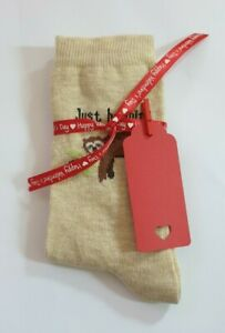 Women's/Girl's Sloth Valentine Socks With Red Happy Valentine Ribbon & Gift Tag