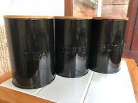 Set Of 3 Storage Canisters Tea Coffee Sugar jars Tins with bamboo lid-black
