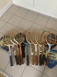 Lot of 10 Vintage Wooden Tennis Racquets / Rackets  In Superb Condition