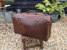 Antique Vintage Huge Gladstone Type Leather Bag Doctors Luggage Vintage Over