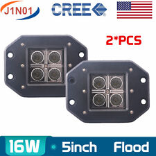 2X 16W Cree Square Flush Mount FLOOD LED Work Light Bumper OffRoad Truck 4WD 5''
