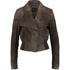 Chic new 100% SUEDE leather BARNEYS dark mole brown JACKET uk14 us10 bnwt £280