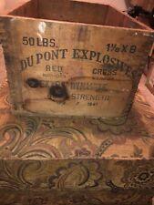 New listing Nice Vintage Original 1947 Dovetailed Wood Dupont Explosives Dynamite Crate Box