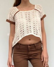 Lace Casual Solid Crop Tops for Women