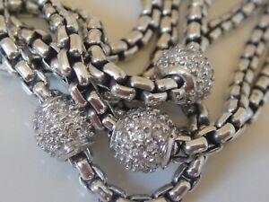 DAVID YURMAN 18K GOLD , SILVER MULTI BOX CHAIN DIAMOND BALL NECKLACE