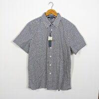 Perry Ellis Men's NWT Cube Print Stretch Button Front Short Sleeve Shirt XL