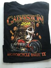Galveston 2014 Motorcycle Rally Black Tee Shirt Texas Mens Size M, Bike Week