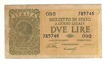 BANCONOTA 2 LIRE  ITALIA ITALY 2 LIRE LUOGOTENENZA VENTURA 1944  11-349