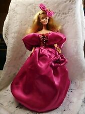 Nwot Barbie doll size FASHION GOWN Fusia 'satin' Sequins faux Pearl Hat Purse