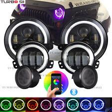 "For Jeep Wrangler JK 7"" RGB Halo LED Headlights Fog Light Turn Signal Combo Kit"