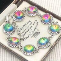 Vintage Style - Watermelon Rainbow Rivoli Glass Chaton Bracelet 10mm