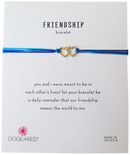 Dogeared Friendship Linked Hearts Gold Dipped Blue Mix Cord Adjustable Bracelet