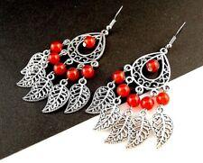 1 Tear Drop Pair of Red Agate Gemstone Metal Feather Statement Earrings - # 451