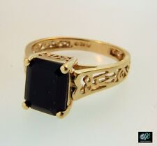 Black Onyx 9x7 mm Emerald Cut Gemstone Solitaire Filigree Ring 14K Yellow Gold