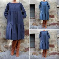 Women Long Sleeve Long Dress Denim Blue Ruffle Loose Shirt Dress Oversized S-5XL