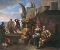 """oil painting handpainted """" drinkers and dancers in front of a hotel  """"@NO8135"""